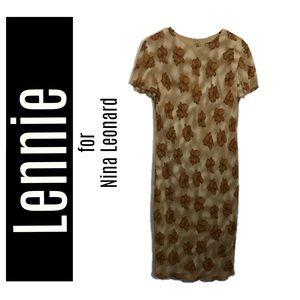 Lennie for Nina Leonard Brown Floral Dress Size 10